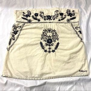 billabong strapless embroidered cream black top